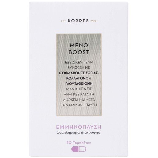 Korres Meno Boost Συμπλήρωμα Διατροφής, Εξειδικευμένη Σύνθεση για τις Ανάγκες Κατά τη Διάρκεια & Μετά την Εμμηνόπαυση 30 Tabs