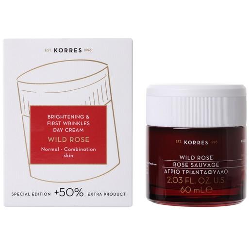 Korres Wild Rose Face Cream Άγριο Τριαντάφυλλο Κρέμα Προσώπου 24ωρης Ενυδάτωσης & Λάμψης για Κανονικές/Μικτές Επιδερμίδες 60ml