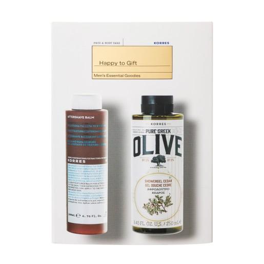 Korres Promo Men\'s Essential Goodies Pure Greek Olive Showergel 250ml & AfterShave Balsam Calendula,Ginseng 200ml σε Ειδική Τιμή