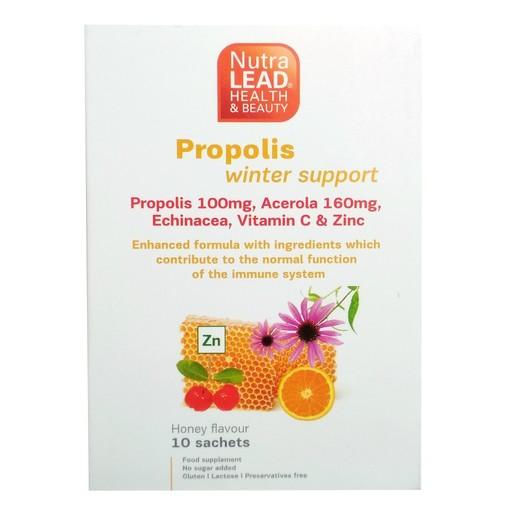 Nutralead Propolis & Olive Winter Support Εμπλουτισμένη Σύνθεση για την Ενίσχυση του Ανοσοποιητικού 10 Φακελάκια Γεύση Μέλι