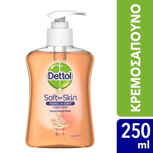 Dettol Liquid Soap Grapefruit Αντιβακτηριδιακό Υγρό Κρεμοσάπουνο Χεριών με Άρωμα Γκρέιπφρουτ 250ml