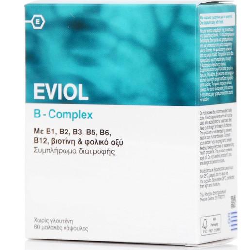 Eviol B-Complex Συμπλήρωμα Διατροφής για την Υποστήριξη της Φυσιολογικής Λειτουργίας του Νευρικού Συστήματος 60 Soft.Caps