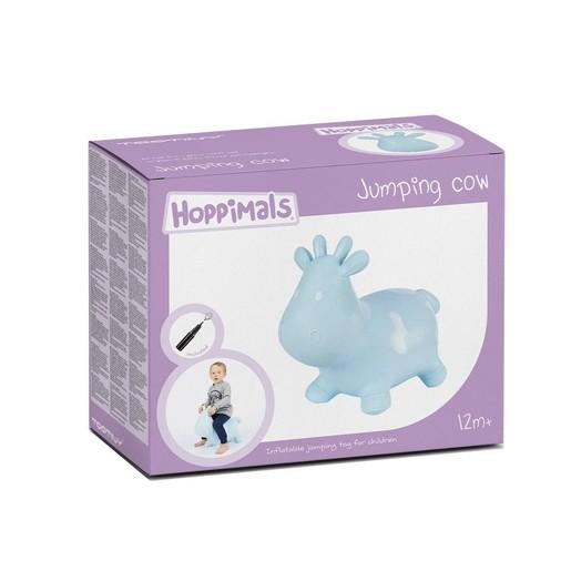Hoppimals Jumping Cow Φουσκωτό Αγελαδίτσα Χοπ Χοπ, Ζωγραφισμένο στο Χέρι σε Γαλάζιο Χρώμα, από 12 Μηνών