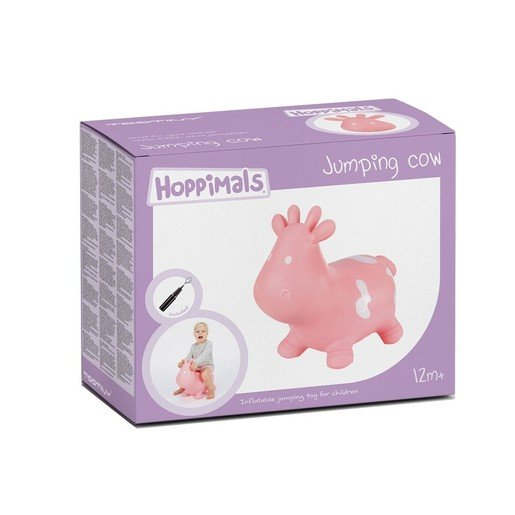 Hoppimals Jumping Cow Φουσκωτό Αγελαδίτσα Χοπ Χοπ, Ζωγραφισμένο στο Χέρι σε Ροζ Χρώμα, από 12 Μηνών