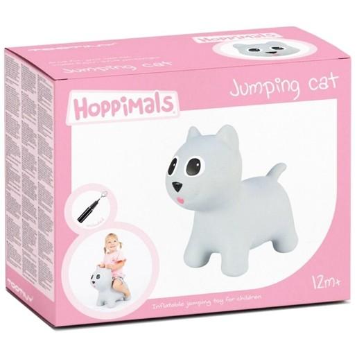 Hoppimals Jumping Dog Φουσκωτό Γατάκι Χοπ Χοπ Ζωγραφισμένο στο Χέρι σε Γκρι Χρώμα από 12 Μηνών