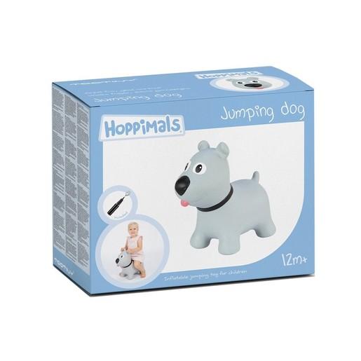 Hoppimals Jumping Dog Φουσκωτό Σκυλάκι Χοπ Χοπ, Ζωγραφισμένο στο Χέρι σε Γκρι Χρώμα, από 12 Μηνών