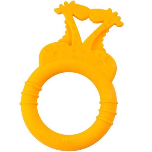 Marcus & Marcus Silicone Teether Giraffe Μασητικό Σιλικόνης FDA Καμηλοπάρδαλη, σε Πορτοκαλί Χρώμα