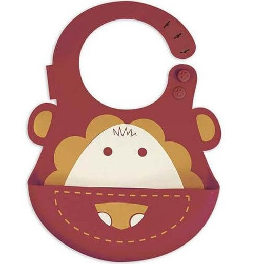 Marcus & Marcus Baby Bib Lion Silicone Σαλιάρα Σιλικόνης FDA με Χούφτα, με Ρυθμιζόμενο Ύψος, Λιοντάρι Χρώμα Κόκκινο