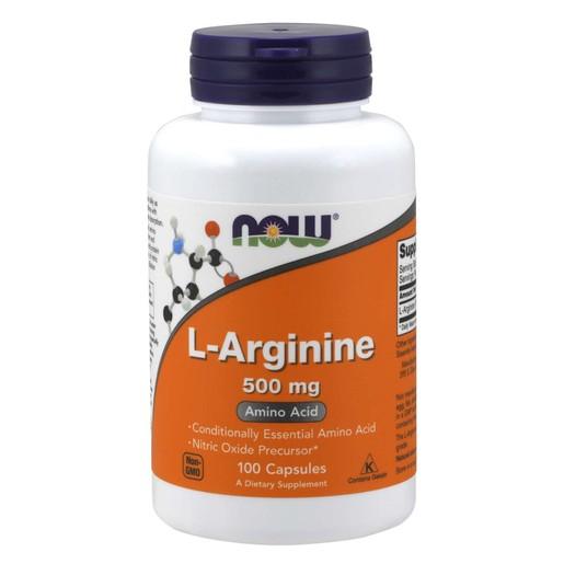 Now Foods L-Arginine 500mg Συμπλήρωμα Διατροφής με Αργινίνη που Συμβάλει στην Παραγωγή Ενέργειας στους Μύες 100 caps