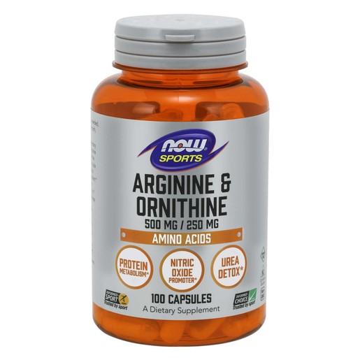 Now Foods Arginine & Ornithine 500mg / 250mg Συμπλήρωμα Διατροφής που Συνδυάζει δύο Αμινοξέα, για Παραγωγή Ενέργειας 100 Caps