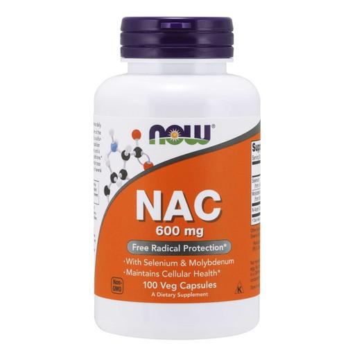 Now Foods NAC 600mg (N-Acetyl Cysteine, Selenium, Molybdenium) Συμπλήρωμα Διατροφής, Αντιοξειδωτικό, Αποτοξινωτικό 100 Vegcaps