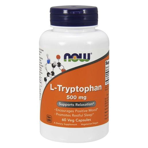 Now Foods L-Tryptophan 500mg Συμπλήρωμα Διατροφής που Ρυθμίζει την Σεροτονίνη & Βελτιώνει την Καλή Διάθεση 60 Vegcaps