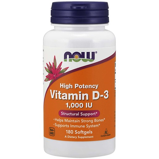 Now Foods Vitamin D3 1.000 IU Συμπλήρωμα Διατροφής με τη πιο Βιοδιαθέσιμη Μορφή Βιταμίνης D 180 softgels