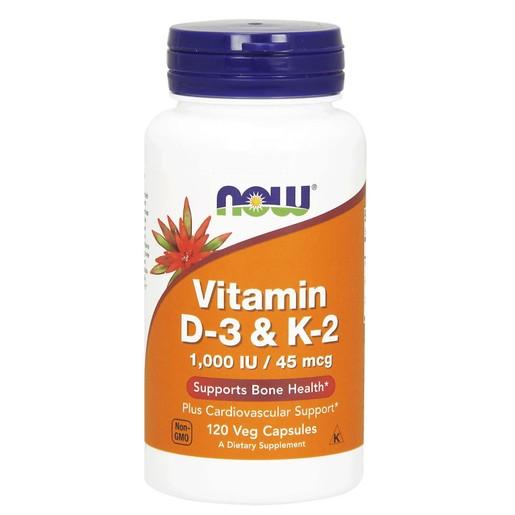 Now Foods Vitamin D-3 & K-2 1000iu Συμπλήρωμα Διατροφής, Ειδική Φόρμουλα Κατά της Οστεοπόρωσης 120 Veg.caps