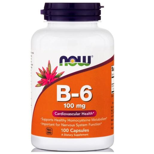 Now Foods B-6 Βιταμίνη που Συμμετέχει σε Πάρα Πολλές Σωματικές Λειτουργίες 100mg 100caps