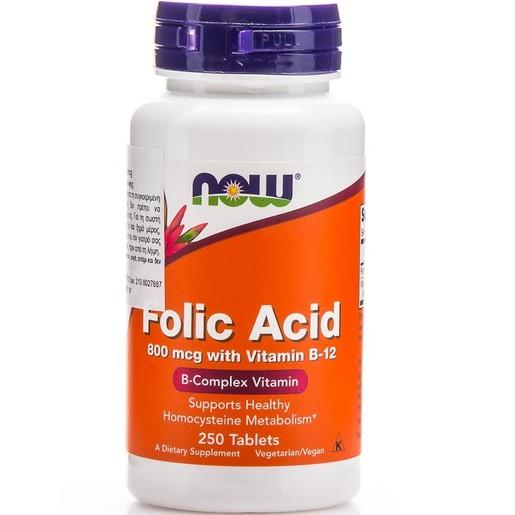 Now Foods Folic Acid 800mcg With Vitamin B-12 25mcg Διευκολύνει Σημαντικά την Παραγωγή Κυτταρικής Ενέργειας 250tabs