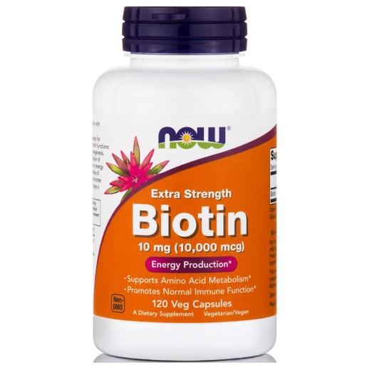 Now Foods Biotin Συμμετέχει σε Πλήθος Μεταβολικών Αντιδράσεων 10mg 120caps