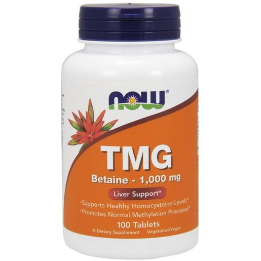 Now Foods TMG (Trimethylglycine) 1000mg Συμπλήρωμα Διατροφής για το Σωστό Μεταβολισμό Λιπιδίων & Αποτοξίνωση του Ήπατος 100tabs
