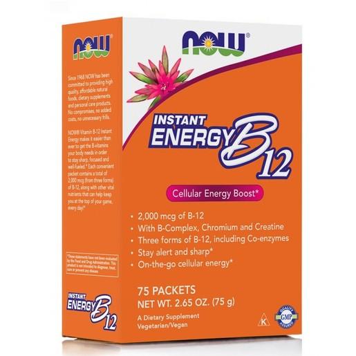 Now Foods Instant Energy B12 Συμπλήρωμα Διατροφής, Boost Παραγωγής Ενέργειας για Άμεση Τόνωση του Οργανισμού 75 Sachets