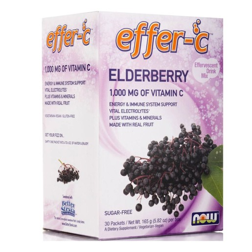 Now Foods Effer-C Vitamin-C Elderberry Συμπλήρωμα Αναβράζουσας Βιταμίνης C 1000mg 30packets