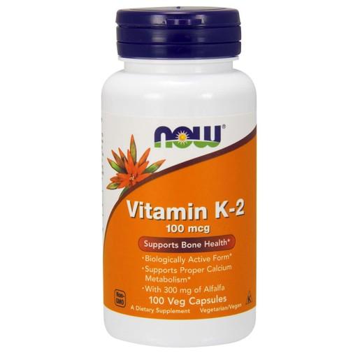 Now Foods Vitamin K-2 100mcg Συμπλήρωμα Διατροφής για την Καλή Καρδιαγγειακή Υγεία & την Πήξη του Αίματος 100 Veg.Caps