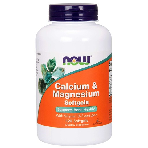 Now Foods Calcium & Magnesium,Vitamin D (+ Zinc) Συμπλήρωμα Διατροφής, Ισορροπημένος Συνδυασμός Ασβεστίου Μαγνησίου 120softegels