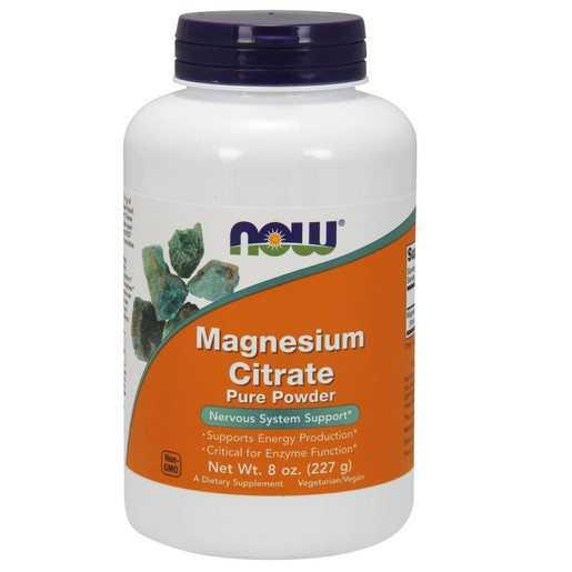 Now Foods Magnesium Citrate Pure Powder (Vegetarian) Συμπλήρωμα Διατροφής που Υποστηρίζει την Νευρομυική Λειτουργία 227gr