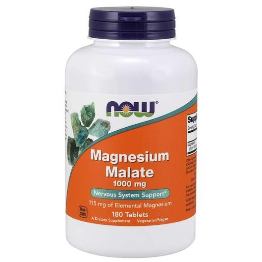 Now Foods Magnesium Malate 1000mg Συμπλήρωμα Διατροφής Ενισχυμένης Μορφής Μαγνησίου με Μηλικό Οξύ 180tabs
