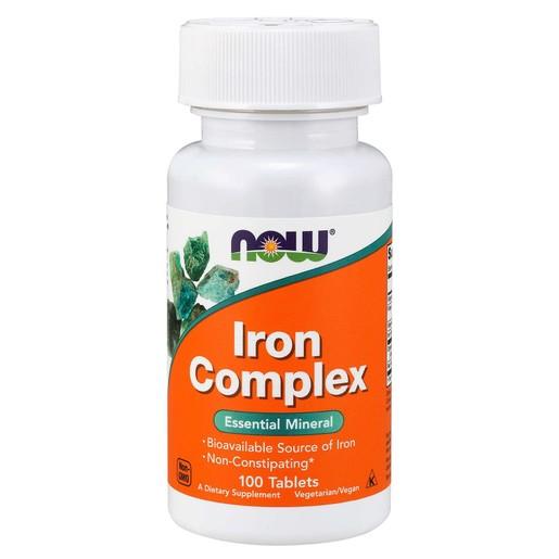 Now Foods Iron Complex Essential Mineral (Vegetarian) Συμπλήρωμα Διατροφής Σιδήρου σε Συνδυασμό με Φολικό Οξύ 100 tabs
