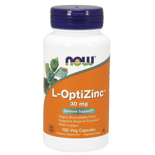 Now Foods L-Optizinc 30mg & Copper Συμπλήρωμα Διατροφής Ψευδαργύρου Μέγιστης Απορρόφησης 100 vegcaps