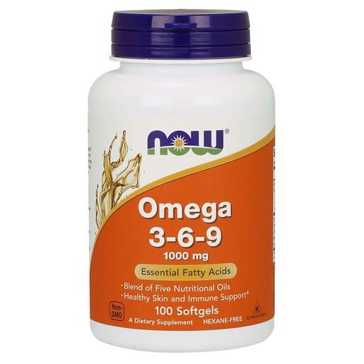 Now Foods Omega 3-6-9 1000mg Συμπλήρωμα Διατροφής, Συνδυασμός Ωμέγα 3-6-9 Λιπαρών Οξέων 100 Softgels
