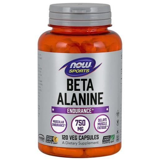 Now Foods Beta Alanine 750mg Συμπλήρωμα Διατροφής για Μείωση της Κόπωσης & Αποκατάσταση Καταπονημένων Μυών 120 Vegcaps