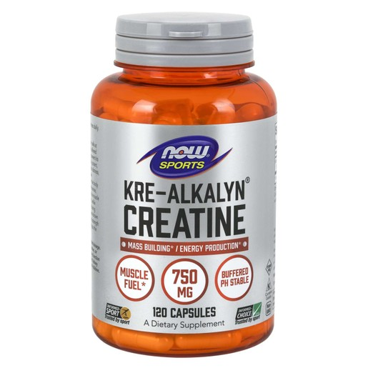Now Foods Kre-Alkalyn® Creatine 750mg Συμπλήρωμα Διατροφής, Φόρμουλα Καθαρής Κρεατίνης 120 Caps
