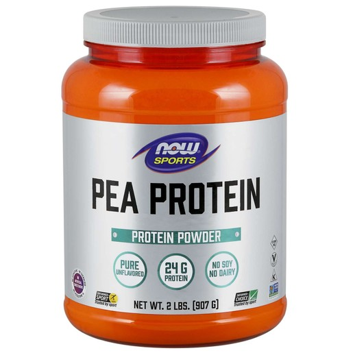 Now Foods Pea Protein, 100% Pure Unflavored Powder Vegeterian Συμπλήρωμα Διατροφής, Καθαρή Φυτική Πρωτεΐνη από Χλωρό Αρακά 907gr