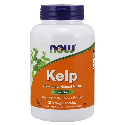Now Foods Kelp 325 mcg Natural Iodine Συμπλήρωμα Διατροφής, Φυσιολογική Λειτουργία Μεταβολισμού & Θυρεοειδή Αδένα 250 vegcaps