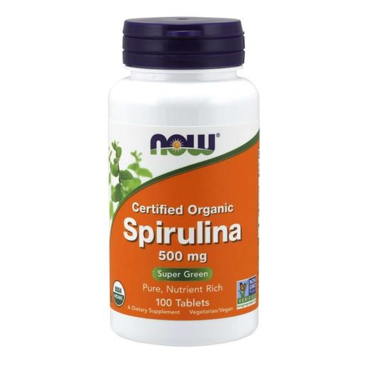 Now Foods Spirulina 500mg Organic Σπιρουλίνα για Τόνωση, Πηγή Πρωτεΐνης με Αντιοξειδωτική Δράση 100 Tabs