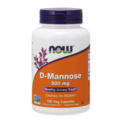 Now Foods D-Mannose 500mg Συμπλήρωμα Διατροφής με 10 Φορές πιο Ισχυρή από το Cranberry Δράση για τις Ουρολοιμώξεις 120 VegCaps