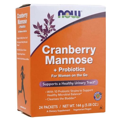 Now Foods Cranberry, Mannose & Probiotics Συμπλήρωμα Διατροφής για την Αντιμετώπιση των Χρόνιων Ουρολοιμώξεων 24 Packets Per Box