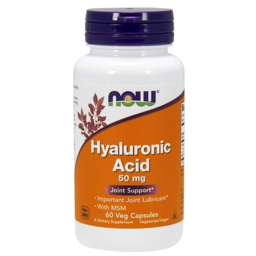 Now Foods Hyaluronic Acid With MSM Συμπλήρωμα Διατροφής για Υγιή Οστά & Αρθρώσεις 60 VegCaps