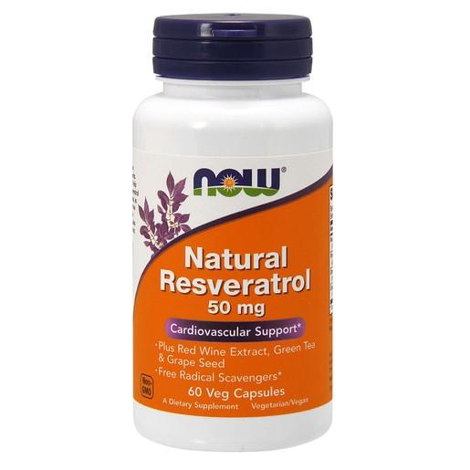 Now Foods Natural Resveratrol 50mg Συμπλήρωμα Διατροφής Ρεσβερατρόλης, με Ισχυρές Αντιοξειδωτικές Ιδιότητες 60 VegCaps