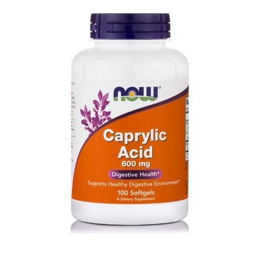Now Foods Caprylic Acid 600mg για Διατήρηση Ενός Υγιούς Πεπτικού Περιβάλλοντος 100 soft gels