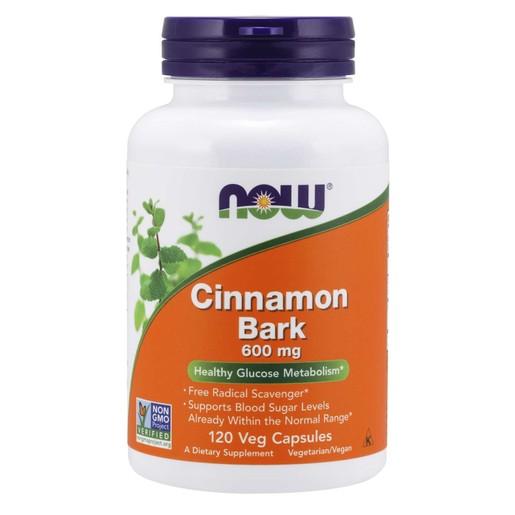 Now Foods Cinnamon Bark 600mg Συμπλήρωμα Διατροφής που Υποβοηθά τη Φυσιολογική Λειτουργία της Πέψης 120 VegCaps
