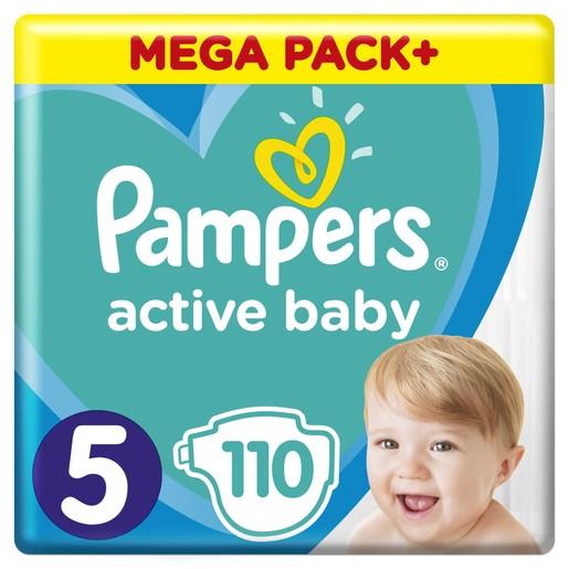 Pampers Active Baby Πάνες Mega Pack No5 (11-16 kg), 110 Πάνες