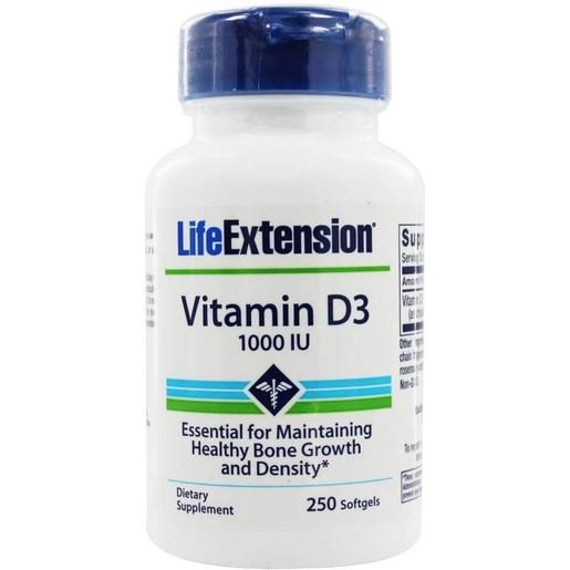 Life Extension  Vitamin D3 1000 IU Συμπλήρωμα Διατροφής Βιταμίνης D3 για την Υγεία Των Οστών 250Soft.Gels