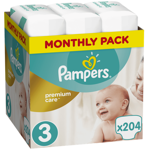 Pampers Premium Care Monthly Pack  No3 (5-9kg) 204 πάνες, μόνο 0,21€ / πάνα
