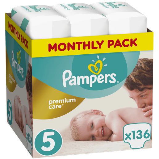 Pampers Premium Care Monthly Pack No5 (11-16kg) 136 πάνες, μόνο 0,33€ / πάνα