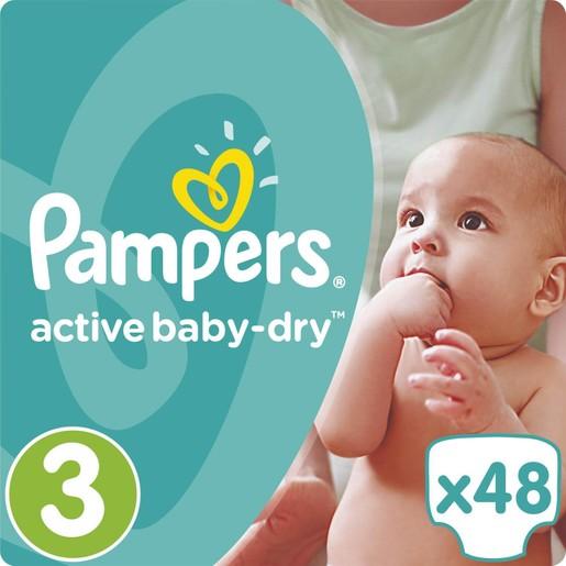 Pampers Active Baby Dry No3 (5-9kg) 48 πάνες