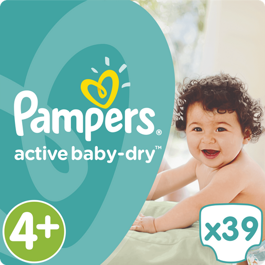 Pampers Active Baby Dry No4+ Maxi Plus (9-18kg) 39 Πάνες