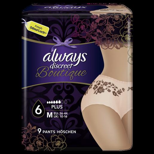 Always Discreet Boutique Pants Εσώρουχο για την Ακράτεια No 6 Plus Medium 36-44 Peach 9 Τεμάχια