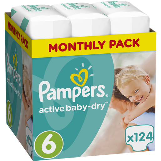 Active Baby Dry Monthly Pack No6 (15+kg) 124 πάνες, μόνο 0,24€ / πάνα - Pampers